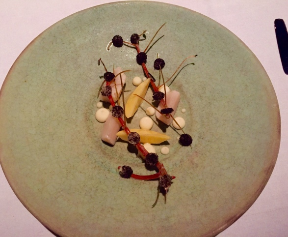 raw slices with smoked cream, white currant & heather