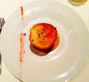 'tomato salad' - yellow tomato sorbet, basil infused oil and brioche crouton