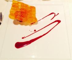 'sweet butter poached lobster' - pommel maxim, melted leeks, beet essence