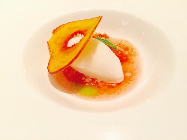 'verjus sorbet' - peach butter and mint infused oil
