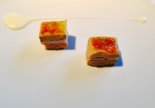 mille-feuille of caramelized eel, foie gras, onions, and green apple