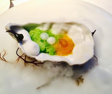 warm oyster, cucumber granite, spicy apple
