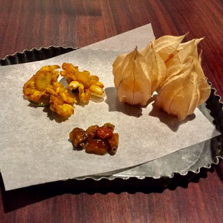 deep fried flowers, golden berries