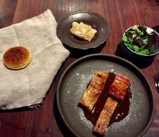 mangalitsa pork adobo, farm herbs, buttermilk biscuit, chicharron