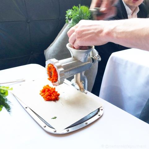 Fresh carrots bring grinded