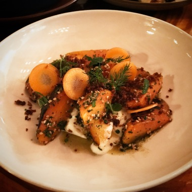 Ember smoked carrots with whipped ricotta