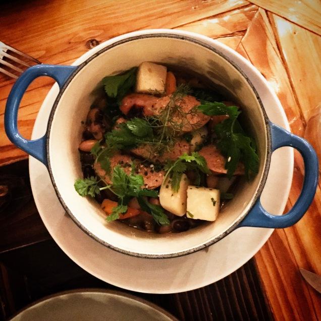 grilled spicy pork sausage in stew