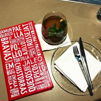 "Jaleo menu & ""Bitter Orange"" cocktail"