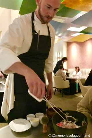 chef preparing mashed potatoes table side