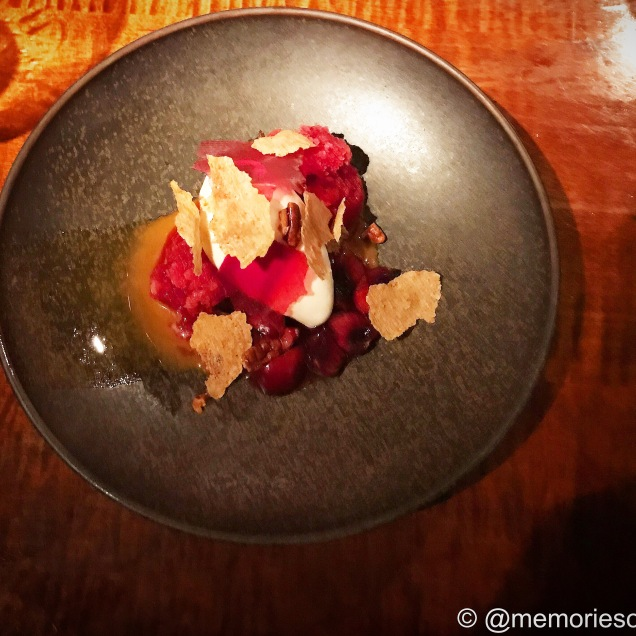 Cherry, Maple Butter, Caramel Pecans, Oatmeal Crisp and Horchata Ice Cream