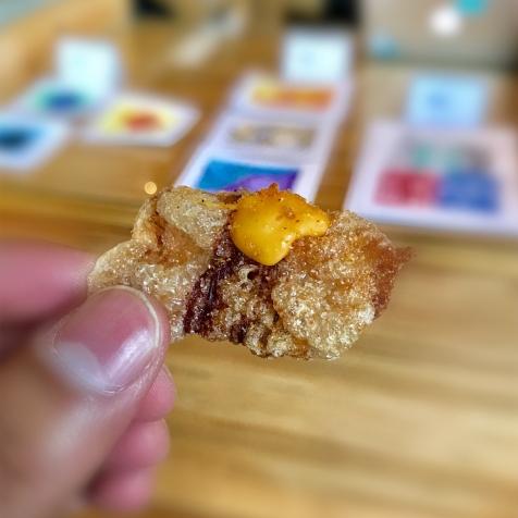 'shrimp' cracker, tendon, tamarind salt