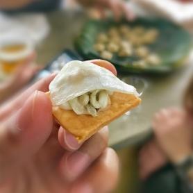 ant egg tart, cashew, 8 month old lardo