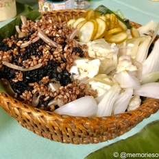 kamayan feat: black rice, puffed mindanao rice, pigs ear, rice fermented vegetable,