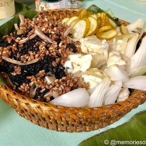 kamayan feat: black rice, puffed mindanao rice, pigs ear, rice fermented vegetable,