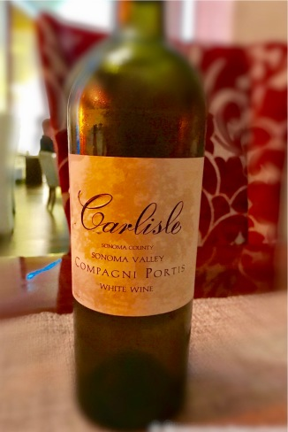 "Carlisle ""Compagni Portis"" - blend of riesling, trousseau gris and gewürztraminer. Less than 90 cases produced."