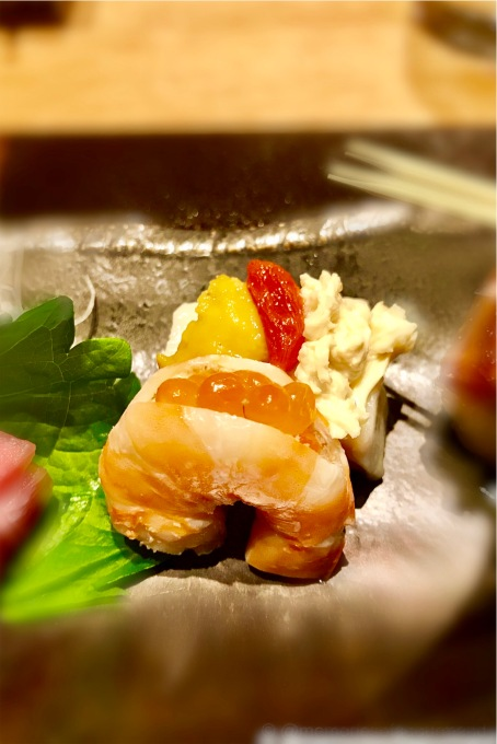 shrimp with trout roe | tofu with uni