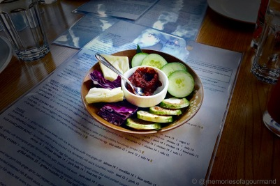 assorted vegetables with chili paste is the welcome greeting to the table