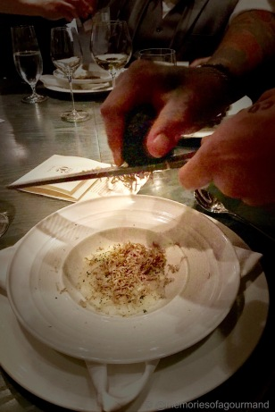 Riso Cacio e Pepe with truffles shaved table side