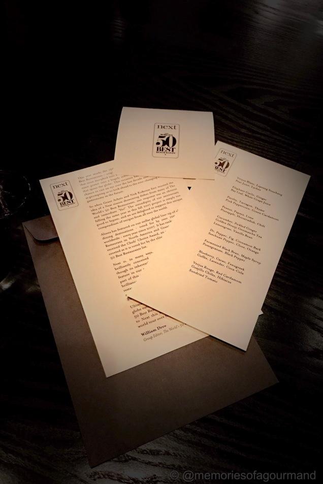the menus at Next World's 50 Best menu