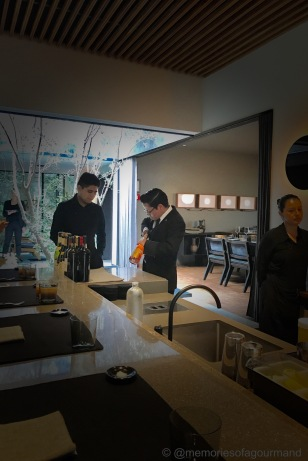 The sommelier team at Pujol preparing the bottles for the pairings