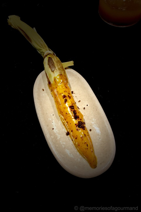 elote tierno (young corn) with coffee mayonnaise and chicatana ant powder