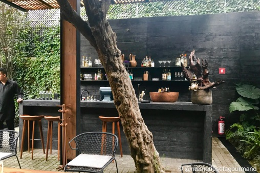 Bar set up at the patio area at Pujol