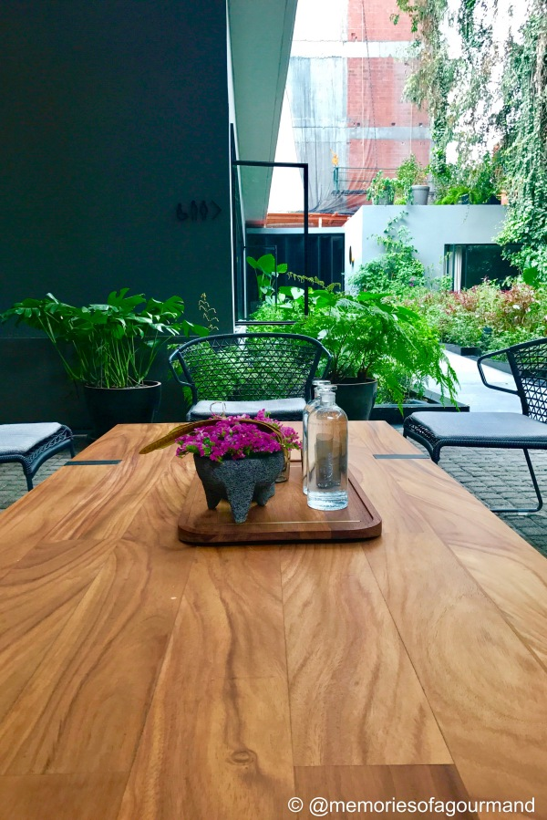 set up at Pujol's patio