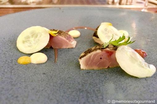 flamed mackerel sashimi, english mustard, cucumber & chrysanthemum