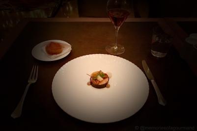 Hudson Valley Foulard duck foie gras, 'assaisonne au confit de canard', marinated sunchokes, Pearson farms pecans, quince mostarda