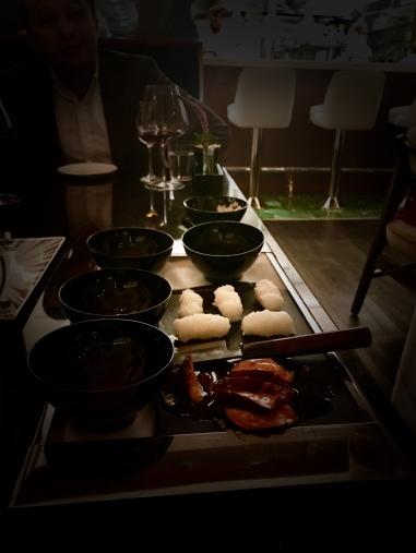 Foie gras nigiri with morita chiles & fish caramel
